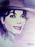 Mj Framed Prints - Michael Jackson - purple fedora Framed Print by Hitomi Osanai