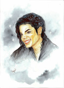 Mj Painting Prints - Michael Jackson - Smile Print by Nicole Wang