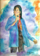 Musician Paintings - Michael Jackson - The Final Curtain Call by Nicole Wang