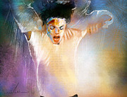 Dancers Mixed Media Framed Prints - Michael Jackson 09 Framed Print by Miki De Goodaboom