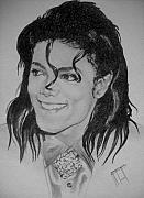 Celebrity Drawing Drawings Prints - Michael Jackson 2 Print by Jeffrey Samuels