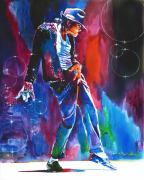 Pop Singer Framed Prints - Michael Jackson Action Framed Print by David Lloyd Glover