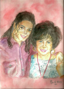 Mj Painting Posters - Michael Jackson and Elizabeth Taylor Poster by Nicole Wang