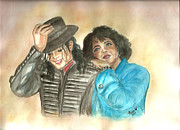 Famous People Paintings - Michael Jackson and Oprah by Nicole Wang