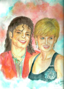 Lady Diana Framed Prints - Michael Jackson and Princess Diana Framed Print by Nicole Wang