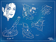 Dance Shoes Digital Art Prints - Michael Jackson Anti-Gravity Shoe Patent Artwork Print by Nikki Marie Smith