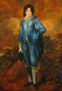 Michael Jackson Portrait Painting Originals - Michael Jackson as Blue Boy by John Entrekin