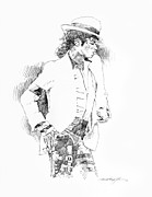 King Of Pop Painting Prints - Michael Jackson Attitude Print by David Lloyd Glover