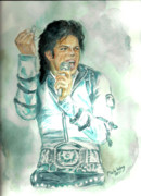 Mj Painting Posters - Michael Jackson Bad Tour Poster by Nicole Wang
