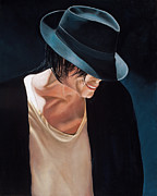 Michael Jackson Painting Originals - Michael Jackson  Black Hat by Douglas Fincham