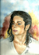 King Of Pop Paintings - Michael Jackson Black or White by Nicole Wang