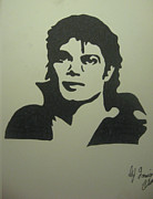 Mj Drawing Drawings Posters - Michael Jackson Poster by Damian Howell