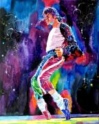 Celebrity Portrait Prints - Michael Jackson Dance Print by David Lloyd Glover