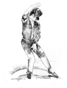 Popular Drawings Posters - Michael Jackson Dancer Poster by David Lloyd Glover