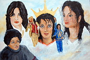 Michael Jackson Painting Originals - Michael Jackson-Faces by Janna Columbus