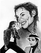 Celebrities Drawings Posters - Michael Jackson Faces to Remember Poster by Peter Piatt