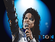 Thriller Digital Art Prints - Michael Jackson Icon Print by Mike  Haslam