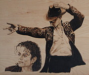 Woodburn Pyrography Framed Prints - Michael Jackson Framed Print by Michael Garbe