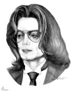 Famous People Drawings - Michael Jackson by Murphy Elliott