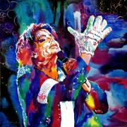 King Of Pop Painting Prints - Michael Jackson Sings Print by David Lloyd Glover