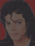 Mj Digital Art Prints - Michael Jackson Songs Mosaic Print by Paul Van Scott