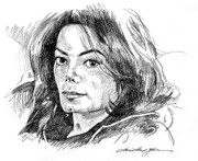 Michael Drawings Posters - Michael Jackson Thoughts Poster by David Lloyd Glover