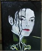 Michael Jackson Portrait Painting Originals - Michael Jackson White Face by Udi Peled