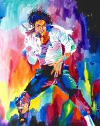 Performers Paintings - Michael Jackson Wind by David Lloyd Glover