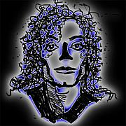 Mj Digital Art Prints - Michael Jackson Without a Nose Print by Jessica Lynn Stuart