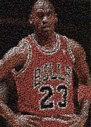 Michael Jordan Prints - Michael Jordan Bottle Cap Mosaic Print by Paul Van Scott