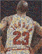 Basketball Mixed Media Prints - Michael Jordan Card Mosaic 2 Print by Paul Van Scott