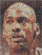 Rookie Card Mixed Media Framed Prints - Michael Jordan Card Mosaic 3 Framed Print by Paul Van Scott