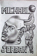 Murals Drawings Prints - Michael Jordan Double Exposure Print by Rick Hill