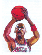 Basket Ball Drawings - Michael Jordan by Emmanuel Baliyanga