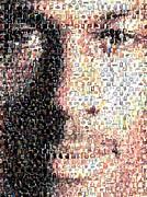 Michael Jordan Face Mosaic Print by Paul Van Scott