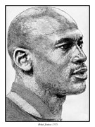 Hall Of Fame Drawings - Michael Jordan in 1990 by J McCombie