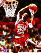 Slam Dunk Digital Art Framed Prints - Michael Jordan Magical Dunk Framed Print by Paul Van Scott