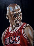 Basketball Painting Posters - Michael Jordan Poster by Mikayla Henderson