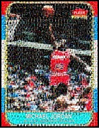 Nba Mixed Media Posters - Michael Jordan Rookie Mosaic Poster by Paul Van Scott