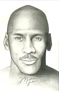 Bobcats Drawings Prints - Michael Jordan Print by Scott Williams