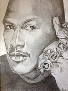 Chicago Bulls Drawings Prints - Michael Jordan Six Rings Legacy Print by Keith Evans