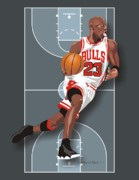 Michael Jordan Digital Art Framed Prints - Michael Jordan Framed Print by Walter Neal