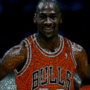 Nba Digital Art Posters - Michael Jordan Word Mosaic Poster by Paul Van Scott