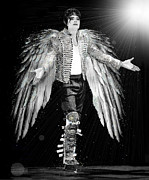Michael Jackson Mixed Media Prints - Michael King of Angels Print by Karine Percheron-Daniels