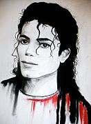 Michael Jackson Mixed Media Prints - Michael Print by Lynda Clark