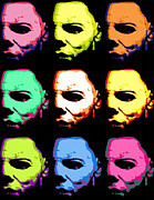 Colrful Framed Prints - Michael Myers Mask Pop Art Framed Print by Paul Van Scott