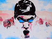 Olympian Painting Prints - Michael Phelps Print by Martin Putsey
