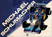 Michael Framed Prints - Michael Schumacher - F1 1995 Framed Print by Evan DeCiren