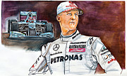 Michael Drawings Posters - Michael Schumacher Poster by Dave Olsen
