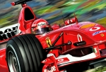 Red Car Art - Michael Schumacher Ferrari by David Kyte